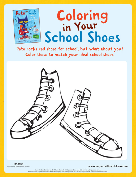 picture relating to Pete the Cat Shoes Printable known as Pete the Cat Rocking In just My Faculty Sneakers: Coloring Recreation