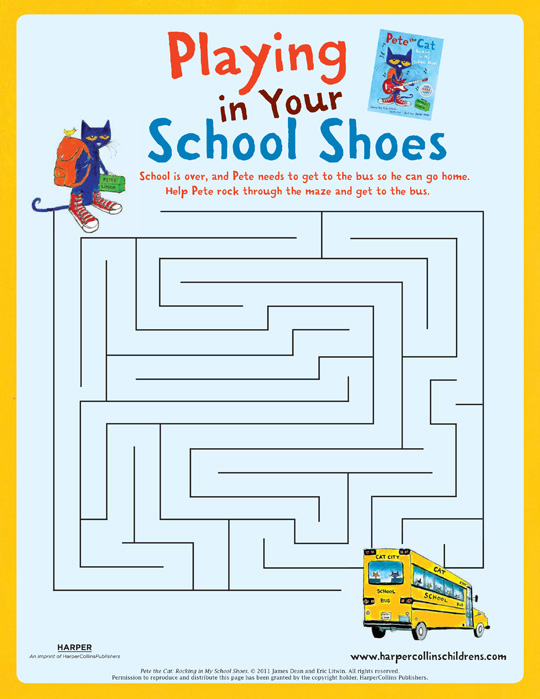 graphic about Pete the Cat Shoes Printable identify Pete the Cat Rocking Within My College or university Sneakers: Maze