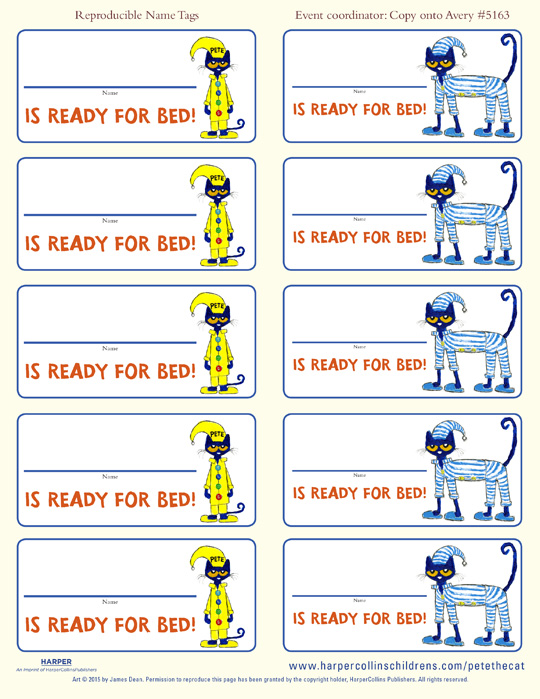 Pete the Cat and the Bedtime Blues: Name Tags
