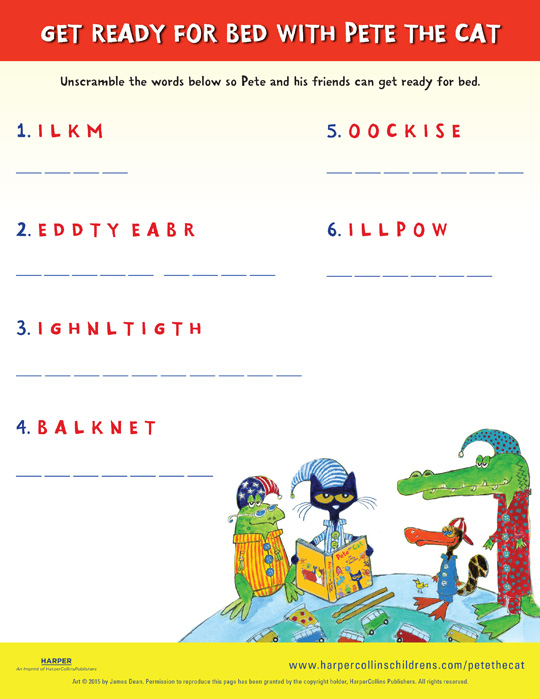 Pete the Cat and the Bedtime Blues: Word Scramble