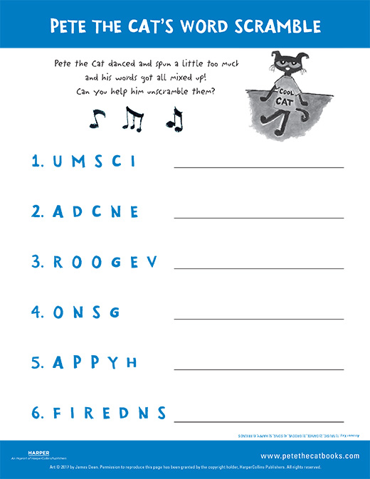 Pete the Cat's Word Scramble
