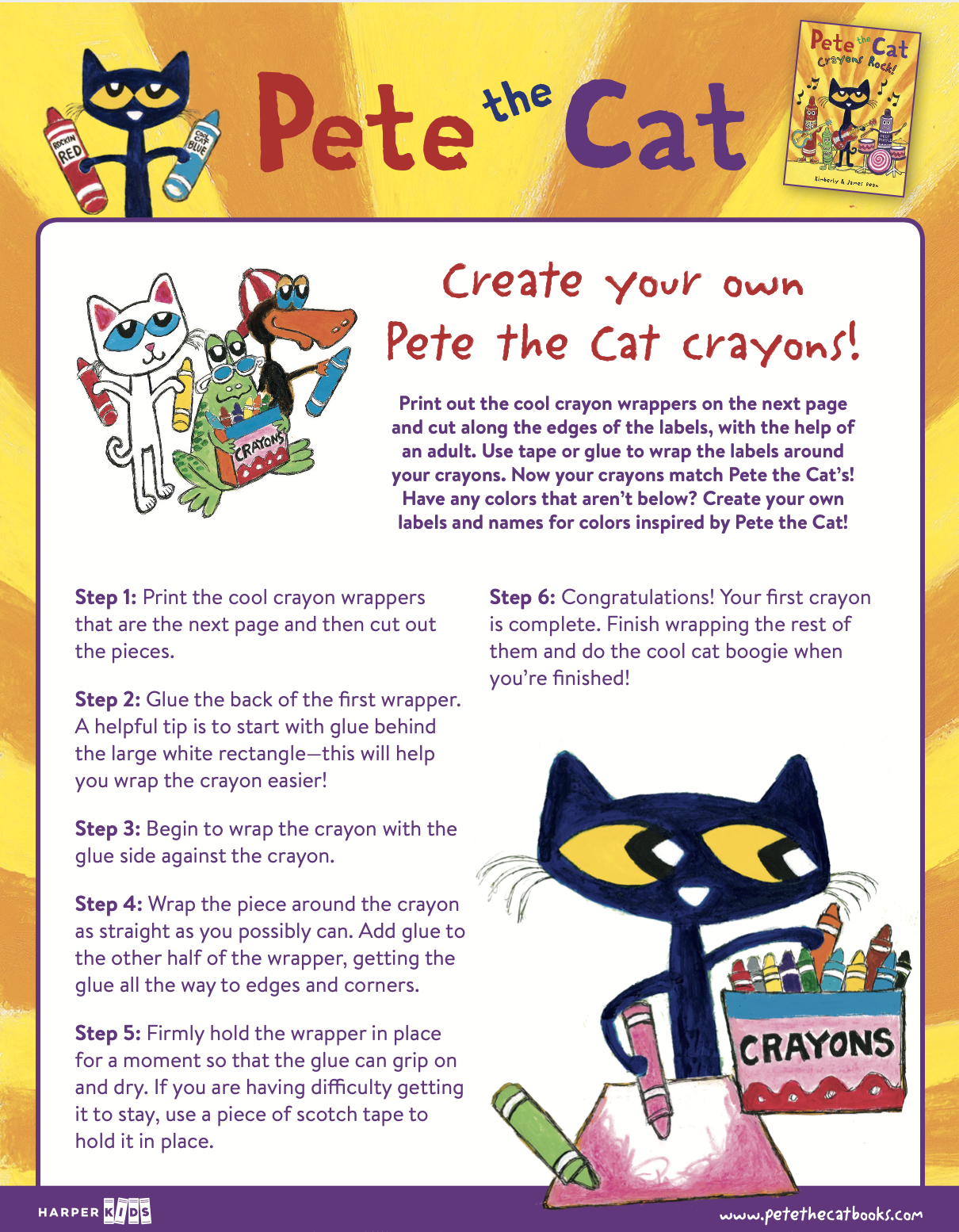 Create your own Pete the Cat crayons!