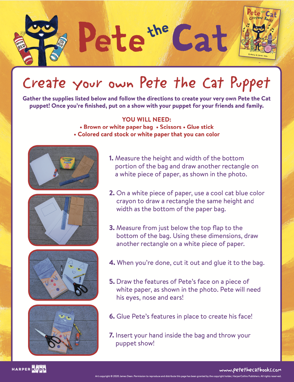 Create your own Pete the Cat Puppet