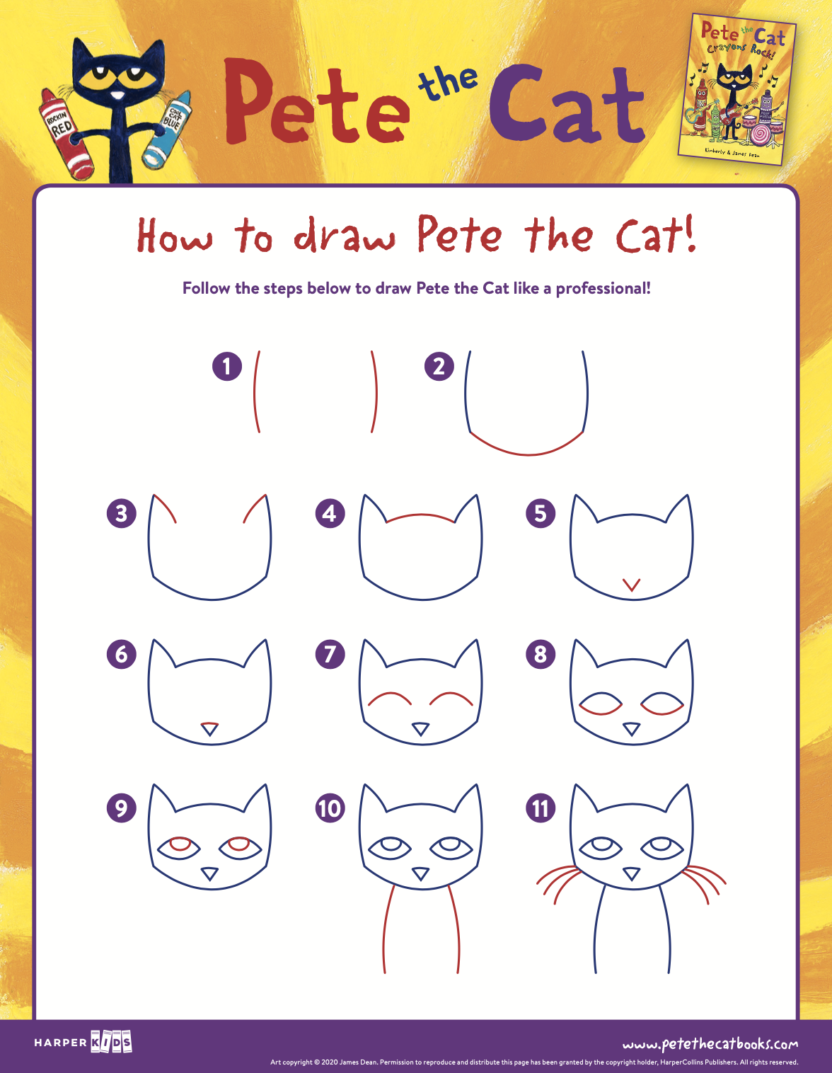 How to draw Pete the Cat!