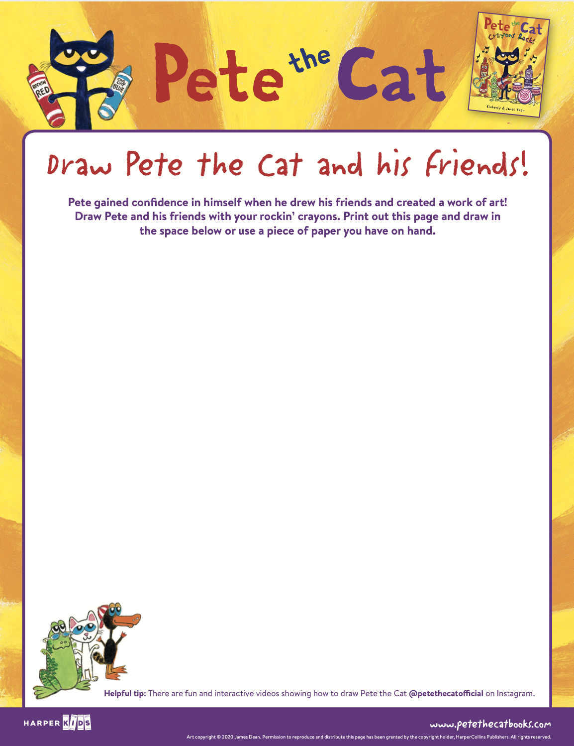 Draw Pete the Cat and his friends!